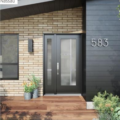 black door with sideline